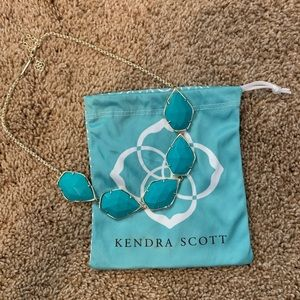 Kendra Scott Connely Teal Gold Statement Necklace